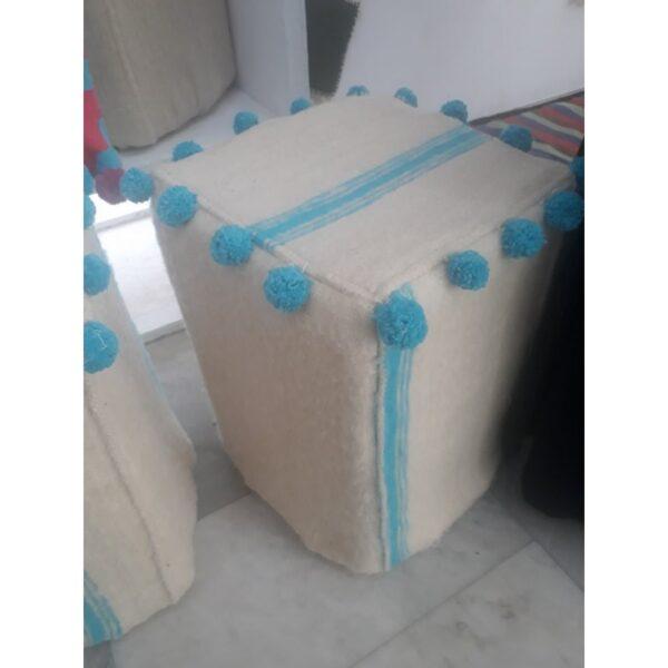 pouf carre en laine dimen 45×45 rembouré en mouse large choix de motif