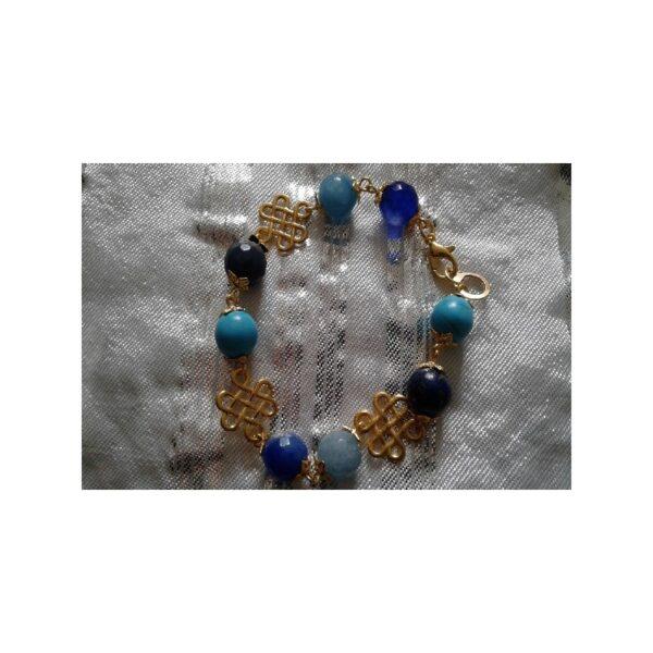 Bracelet doré perles turquoises