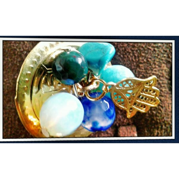 Bague dorée perles turquoise