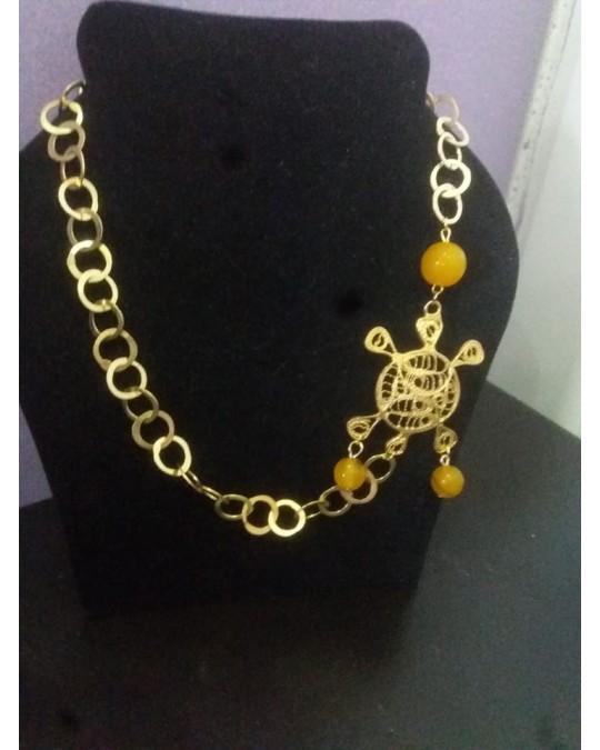 Collier rayhana avec pendentif filigrane tortue