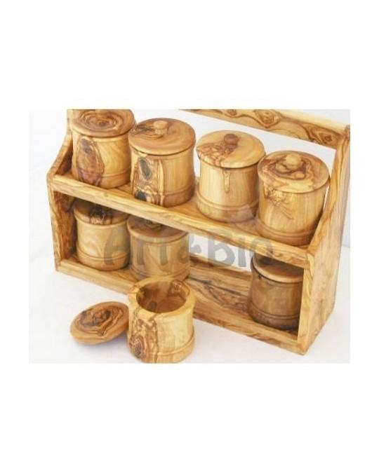 Etagère à épices et 8 Pots en Bois Olivier