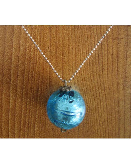 Collier verre bleu