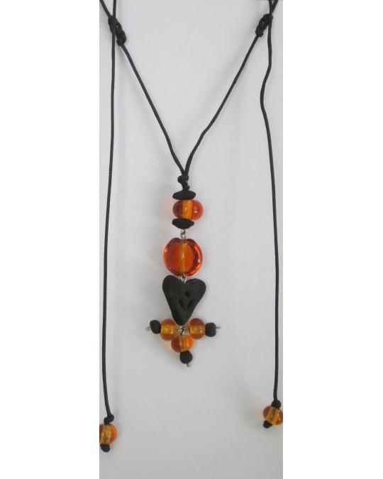 Pendentif en Perles de Verre de Murano et Ambre