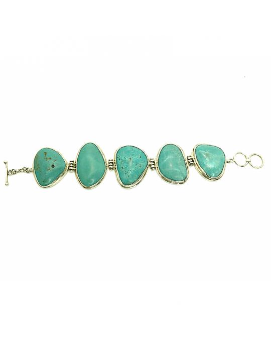 Bracelet en argent massif et turquoises IZIS