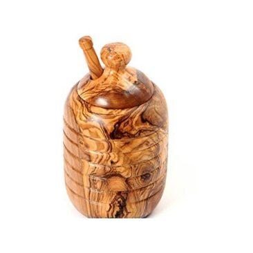 Pot avec cuillère à miel en bois d'olivier
