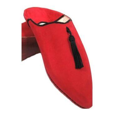 Babouche en cuir rouge