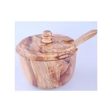 Boîte à sucre en bois d'olivier
