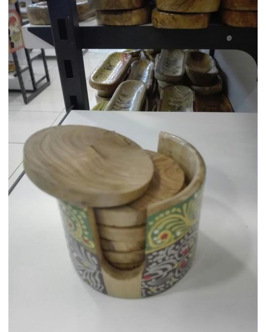 Sous tasse en bois d'olivier(lot de 6)