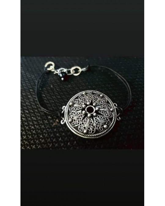 Bracelet argent et cuire