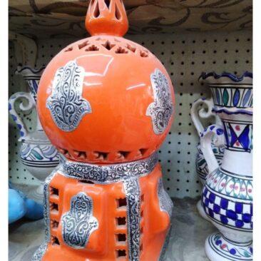 Lampe Poterie Djerba orangé