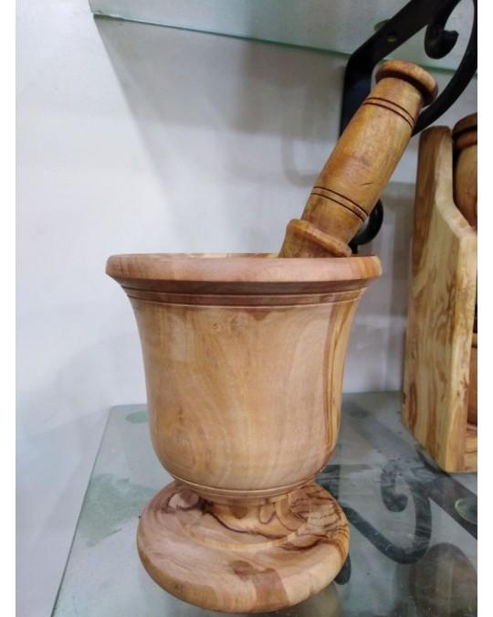 Mortier et pilon en bois d'olivier