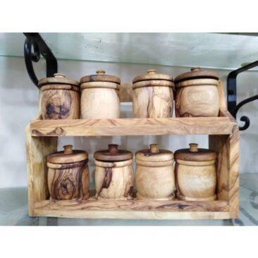 Étagère à épices et 8 Pots en bois olivier