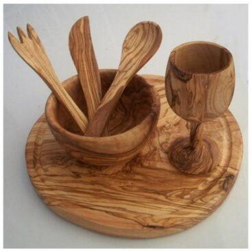 Service 6 pièces en bois d'olivier