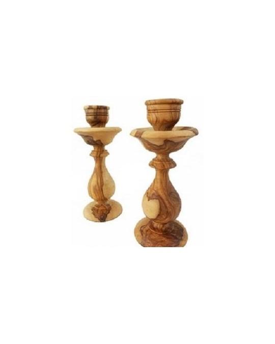 Lot de deux bougeoirs en bois d'olivier