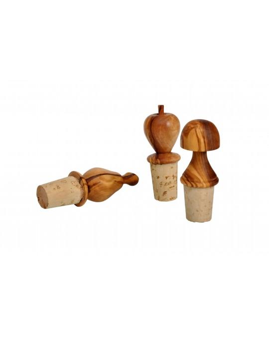 Series de 3 Bouchons de bouteilles en bois d'olivier
