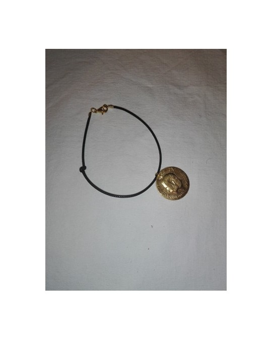 Bracelet corde noir avec lyra